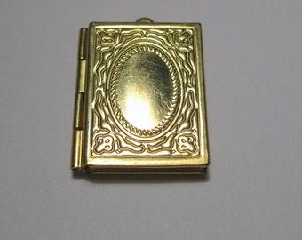 Raw Brass Book Photo Locket Charm Pendants