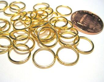 50pcs Gold Tone Open Jump Ring 10mm 18 Gauge
