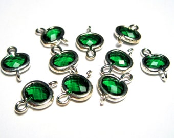 2pcs Silver Plated Brass Framed Green Glass Links Connectors, 1/1Loops Faceted Oval Links( No.05S)