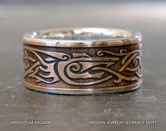 viking wolf ring silver lined bronze ring mixed metal ring viking inspired jewelry mens wedding band - Viking Wedding Rings
