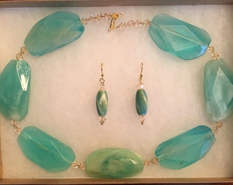 Acrylic Blue-Green Bead Necklace and Earring Set with Swarovski Elements