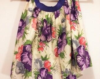 purple and pink floral half apron 1950s linen Swedish handmade apron