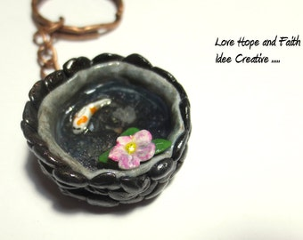 "koi pond in polymer clay"" kaychain"