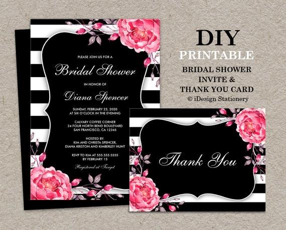 Black and white stripe bridal shower invitation with thank you for Black and white bridal shower invitations
