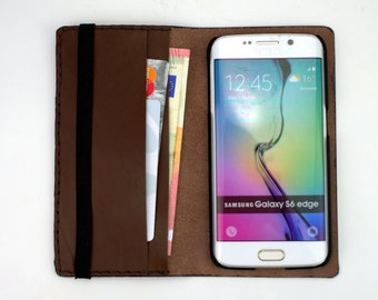 Leather Samsung Galaxy S6 Wallet Case Bifold Card Bill Holder, Slim Samsung S6 edge Wallet Leather Profile, Samsung S6 Case Leather Wallet