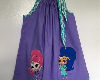 Custom Made Pillowcase Dress-Solid Purple w/ Shimmer &Shine of Twin Genie and  Turquoise chevron for Hem and Ribbon NB-8 y/o