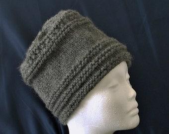 Winter Hat Tivoly Hat  Dark Gray Heather Adult Size Eyelet Band Acrylic Accessory