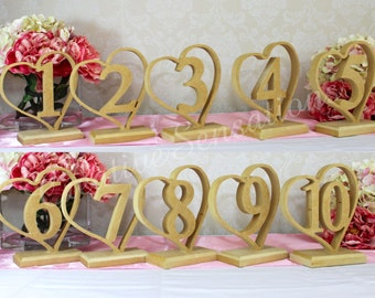 Complete Set 1-10 Wedding Heart Table Numbers Raw MDF Freestanding Timber Base