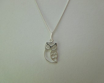 Sterling Silver 925 Owl Necklace