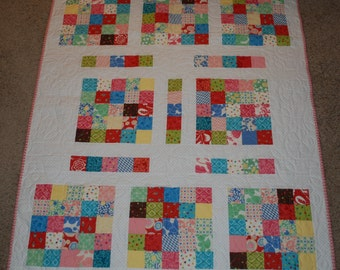 Baby Girl Scrappy Squares Quilt, Scrappy Baby Quilt