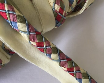 Argyle Lip Cord Ivory Blue Red Green Pillow Lip Cord Trim by the Yard