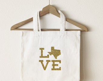 Love Texas tote bag/custom tote/market bag/canvas shopping bag/ state tote/ market tote/ reuseable bag/ Texas state bag/ gold glitter