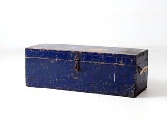 SALE vintage tool box, blue wood workman's box