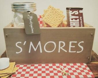 S'mores bar station, Smore box, Smores rustic wooden box, Mason jar Campfire caddy, RV camping, Wedding smores box, Hand painted box, Scouts
