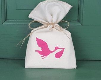 ON SALE Baby Shower Favor Bag, Muslin Bag, Stork, Fabric Bag, 5 x 8, Boy or Girl, Boy or Girl Baby Shower