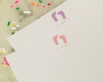 Baby Girl Personalized Stationery - Footprints Newborn Custom Stationary Set of 20 Flat Note Cards