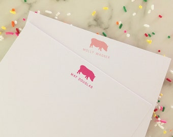 Pig Stationery - Kids Baby Personalized Stationary Set of 20 Flat Note Cards