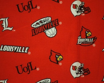 Louisville Cardinals Basketball Red Sheeting Fabric Cotton 4 Oz 44-45""