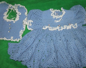 Crocheted Baby Fancy Dress and Matching Bib, 6 to 18 mos