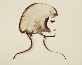 Face Painting, Profile Painting, Original Ink and watercolor painting, Womans Face, Female Portrait