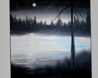 Painting Moonlit Night in Oil Paint on Canvas Starry Night Sky Silhouette Landscape