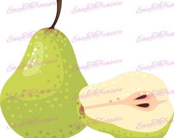 Digital Download Clipart – Pear Half Fruit JPEG and PNG files