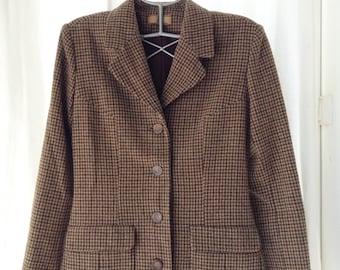 Jacket vintage tweed beige, Brown and black, Irene van Ryb, T 38.