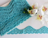 "Stretch lace trim 1 3/8"" / 3.5cm wide, turquoise stretch lace, blue lace trim, scallop lace, narrow stretch lace, floral lace trim"