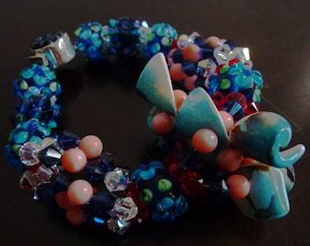Custom Original Yemaya Ogunte/Okunte with Achaba Ide Bracelet with shells, crystals, coral and lampwork beads
