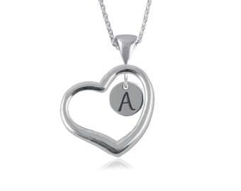 Heart Open Drop Initial Necklace, .925 Sterling Silver, LTTR1-6242