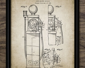 Vintage Gas Pump Patent Print - 1938 Gas Pump Design - Fuel Dispenser - Petrol - Vintage Motoring - Single Print #968 - INSTANT DOWNLOAD