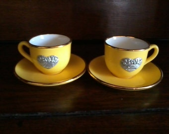 former GORBON duo mugs HER and HIM ceramic golden yellow color