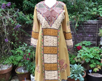 Vintage Indian dress and scarf  UK12/14 US 8/10 EU 40/42, embroidered and beaded dress with scarf.