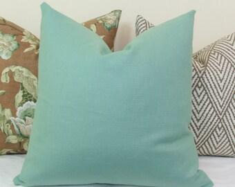 Light teal basketweave decorative throw pillow cover 18x18 20x20 22x22 24x24 26x26 Euro sham Lumbar 12x24 14x24 14x26 16x24 16x26 Spa blue