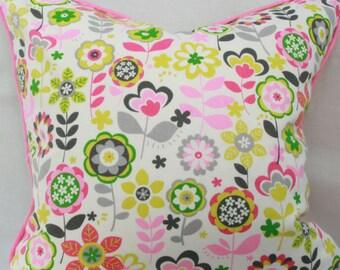 Pink green floral decorative throw pillow cover 20x20 pillow cover Pink children's pillow Girl's pillow