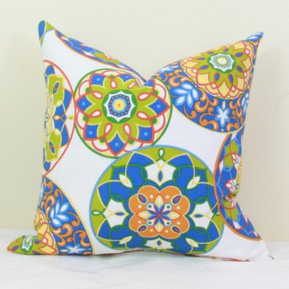 Blue Green Orange Throw Pillows : Blue green & orange indoor/outdoor throw pillow by JoyWorkshoppe