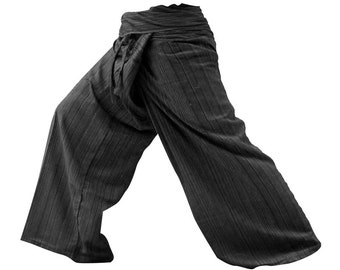 Thai Fisherman Pants aka Wrap Pants are lightweight and very comfy. (Charcoal, Rayon-WARM, Brown, Red-violet, Pink.)