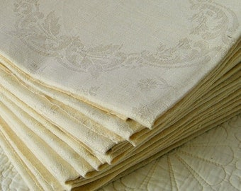 10 Antique French Thick Linen Scrolled Damask Napkins Unused