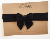 Solid black stretch knit headwrap - skinny band headwrap with sailor bow.