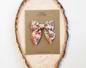 Sailor Bow - Coral Cotton and Steel Rifle Co Floral Bow in Small, Medium, and Large on Clip or Elastic