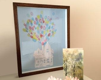 Fingerprint Wedding Guestbook - Floating Papercut House & Balloon
