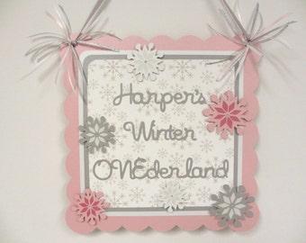 Snowflake Winter Wonderland Door Welcome Sign Banner Pink Grey White Onederland Birthday Party