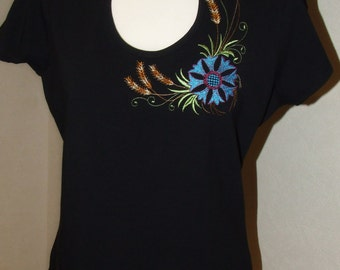 Women T- Shirt, Black T-Shirt, Embroidery in T-Shirt