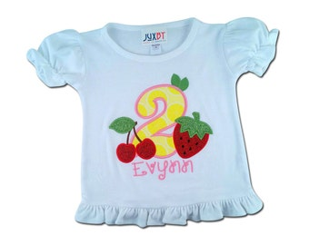 Girl's Fruit Birthday Shirt with Number and Name