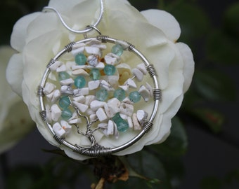 Tree of Life - Wire Wrapped Tree of Life Necklace - Howlite and Apatite Tree of Life Naclace - Wire Wrapped Howlite and Apatite Tree of Life