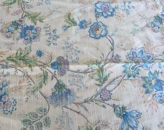 Vintage blue /light beige pleater pin drapes/ curtains pair
