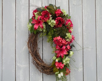 Spring Wreath, Summer Wreath, Front Door Wreath, Home Decor, Garden Wreath, Designer Wreath