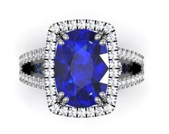 Sapphire & Diamond Engagement Ring  13x9 Oval Ceylon Blue Sapphire Natural  Diamonds .76ct Engagement Wedding Ring 14k White Gold Ring
