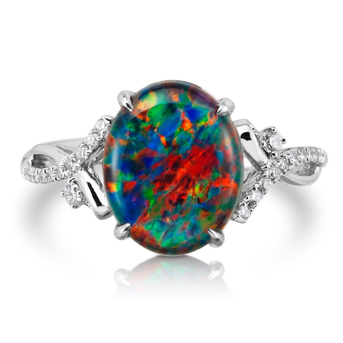 Natural Opal Ring 18k White Gold & Genuine Diamonds RARE