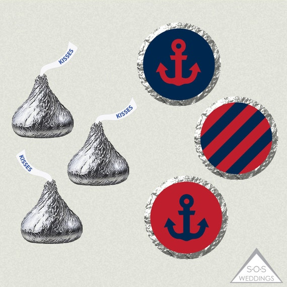 Printable Hershey Kiss Labels, Wedding Kiss Stickers, Navy and Red ...